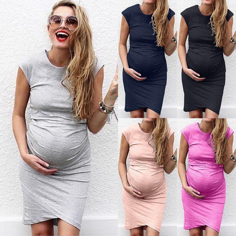 c029651f5f62fa Damen Mutterschaft Schwanger Umstandsmode Kleid Sommer Kurzarm Party  Minikleid