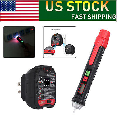 Non-contact Voltage Socket Outlet Tester Pen Kits Ncv Detector W Led Flashlight