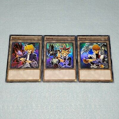 Yugioh Yugi + Kaiba + Joey 3 Card Token Set Blue Eyes White Dragon Dark Magician Dragon Token Set