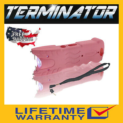 Terminator Max Power Pink Police Stun Gun Safety Pin Blinding Flashlight