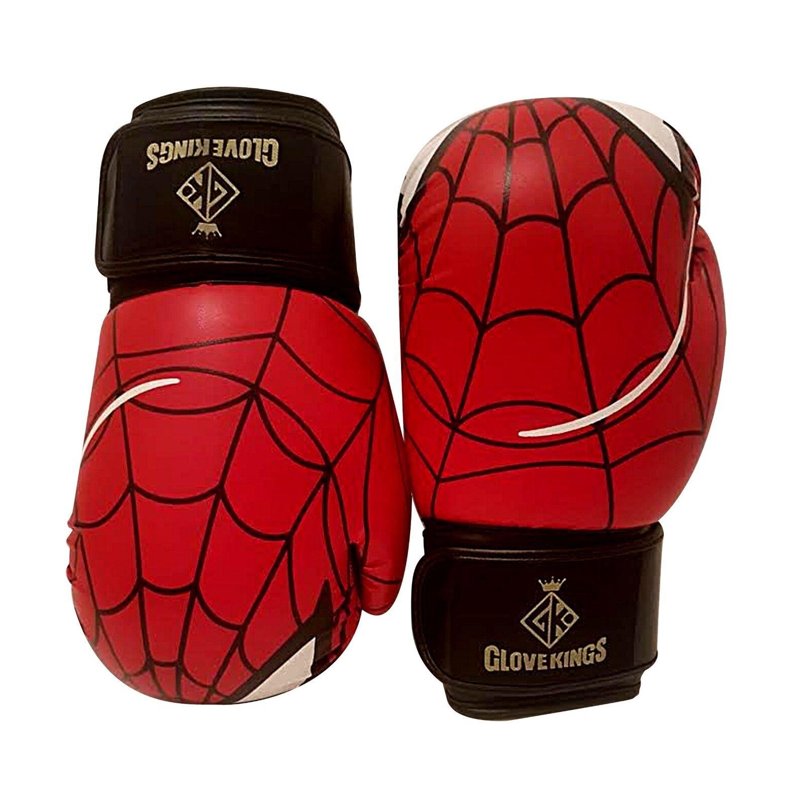 GK Spiderman Guantoni Da Boxe K1 Muay Thai MMA UFC In Pelle 8oz Kids