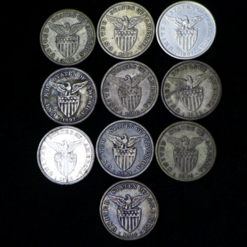Lot of (10) 1907-1910 US-Philippines 1 Peso Silver Coins F-VF Some Dark Corroded