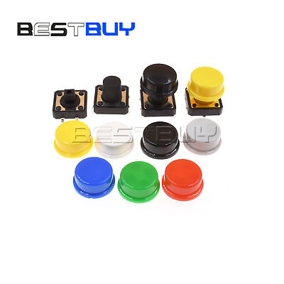 Smddip Tactile Switch Tact Push Button 7color Round Cap 12x12x7.3mm-12mm Bbc