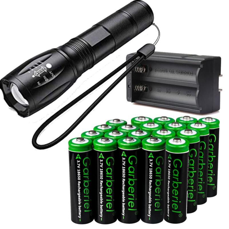 Tactical LED Flashlight +18650 BRC Battery Li-ion 3.7V Rechargeable Batteries