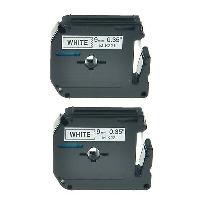 2pk M-k221 Mk221 Black On White Label Tape For Brother P-touch Pt-80 Printer