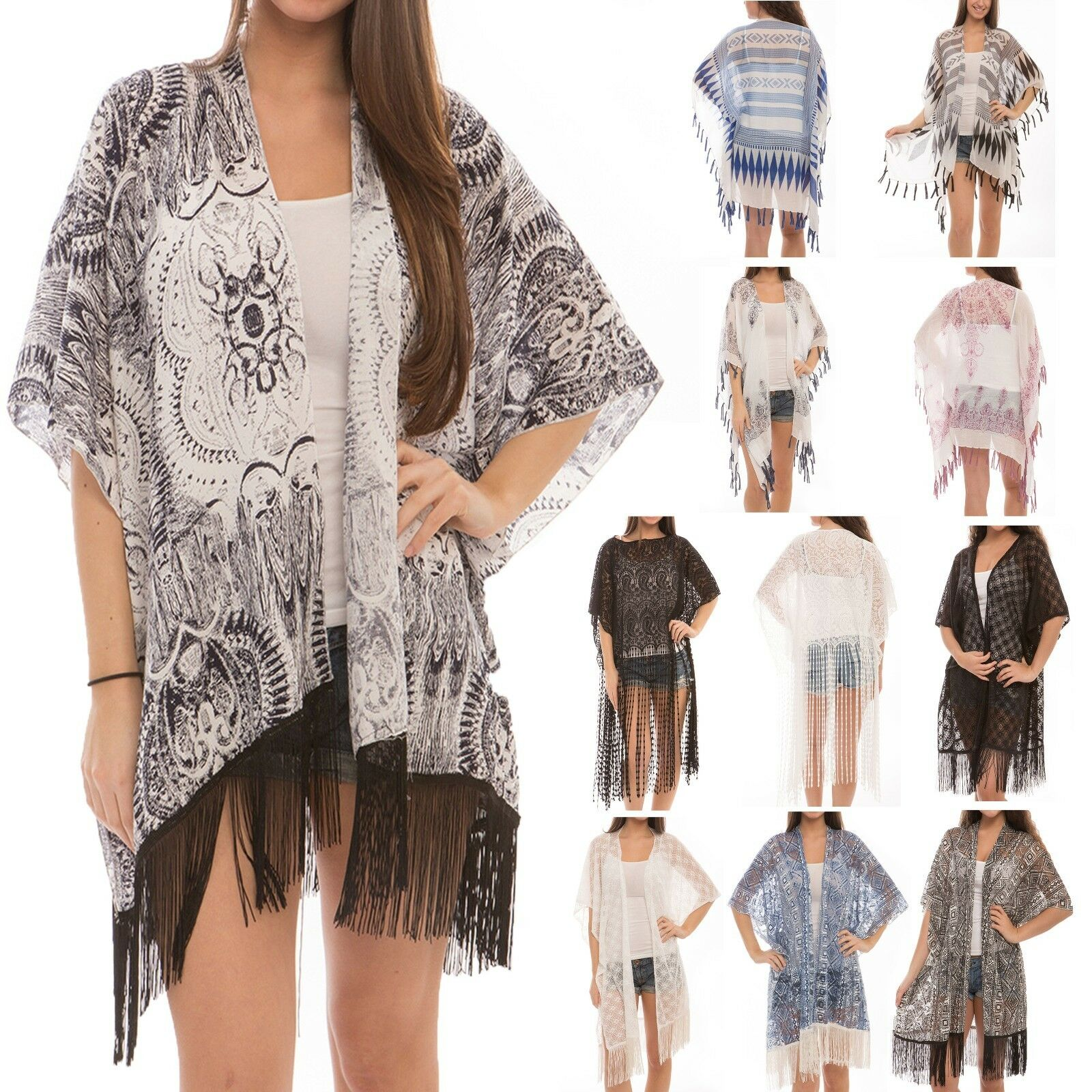 Women's Fashion Swimwear CoverUps Top Dress Chiffon Kimono C