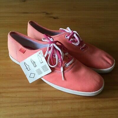 Ladies Plain Coral Canvas Laced KEDS Flat Casual Pumps Shoes UK 6 New but faded