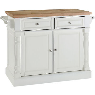 Butcher Block Wooden Stationary Kitchen Island Storage Cabinet Table, White