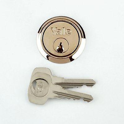 YALE Replacement Rim Cylinder Door Lock 2 Keys Brass Finish