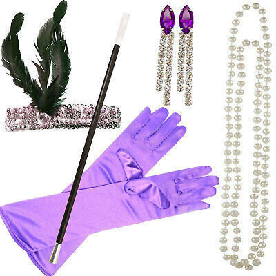 Ladies 1920s Flapper girl fancy dress costume Purple 20s outfit Peaky Blinders  - Girls Fancy Flapper Kostüm