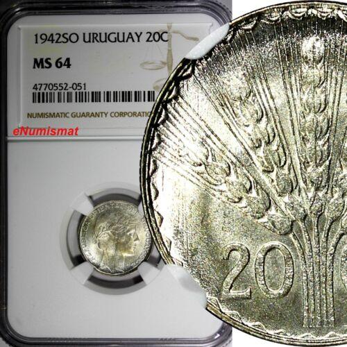 Uruguay Silver 1942 So 20 Centesimos NGC MS64 1 Year Type KM# 29