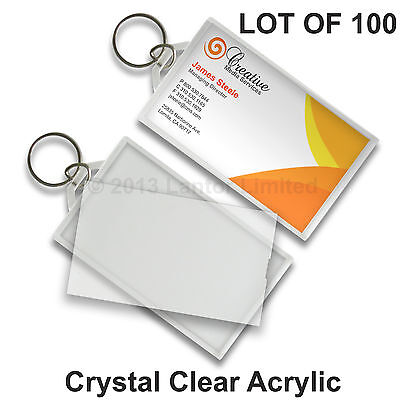 Key Chain Business Card Tag Clear Acrylic  Snap-In  100 pcs #KC70-Clear-100# Clear Acrylic Key Tag
