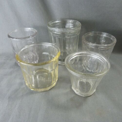 Set of 5 French Vintage Chunky Glasses Jam Pots Jelly Jars