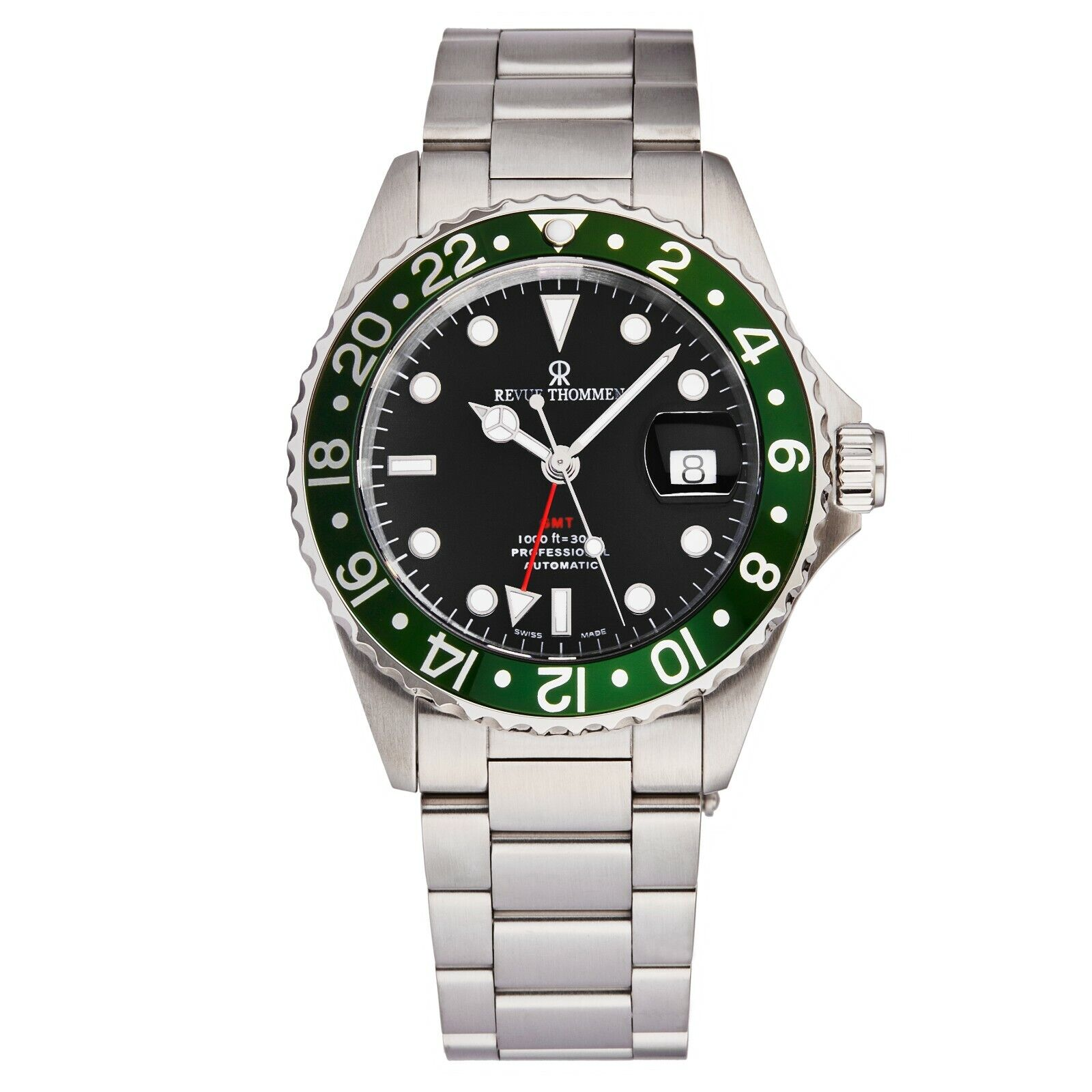 Revue Thommen Mens Diver Black Dial Stainless Steel Automatic Watch 175722134