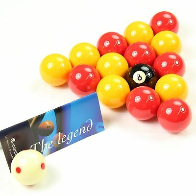 Aramith League Premier Red & Yellow 2 Inch Balls With Pro Cup Spotted Cue Ball