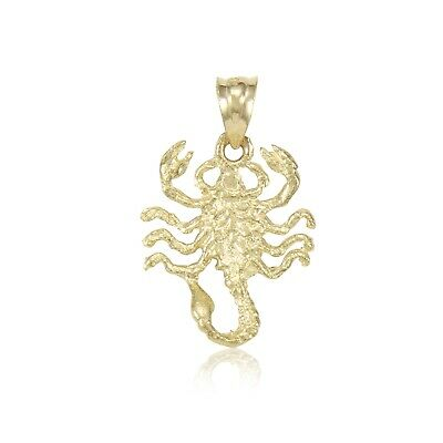 14K Solid Yellow Gold Scorpion Pendant - Scorpio Zodiac Necklace Charm Women (14k Gold Scorpio Zodiac)