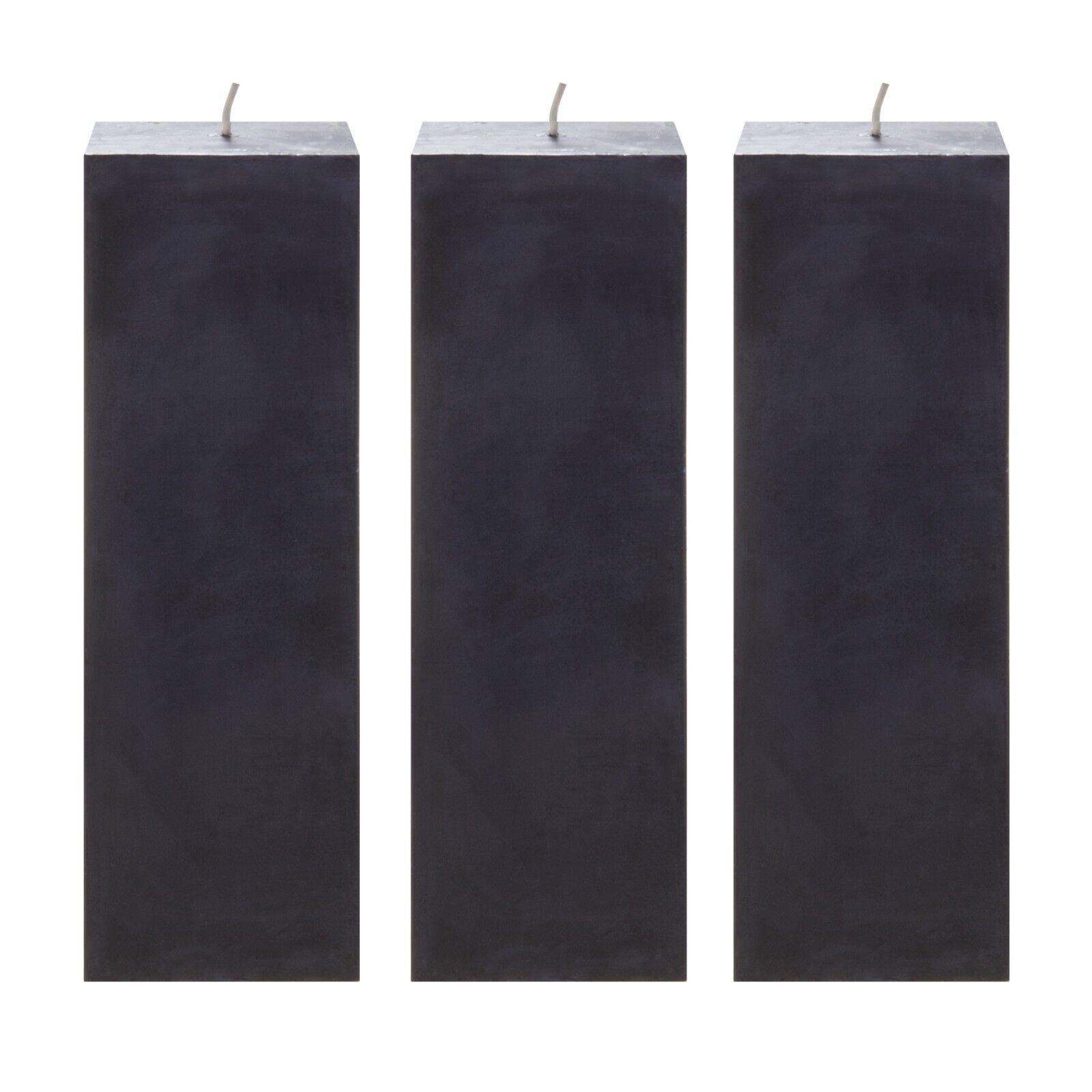 Mega Candles 3 pcs Unscented Black Square Pillar Candle | Ha