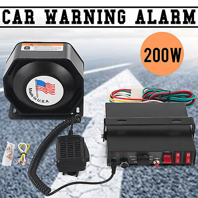 200W 8 Sound Loud Car Warning Alarm Police Fire Siren Horn PA Speaker MIC System for sale  Hacienda Heights
