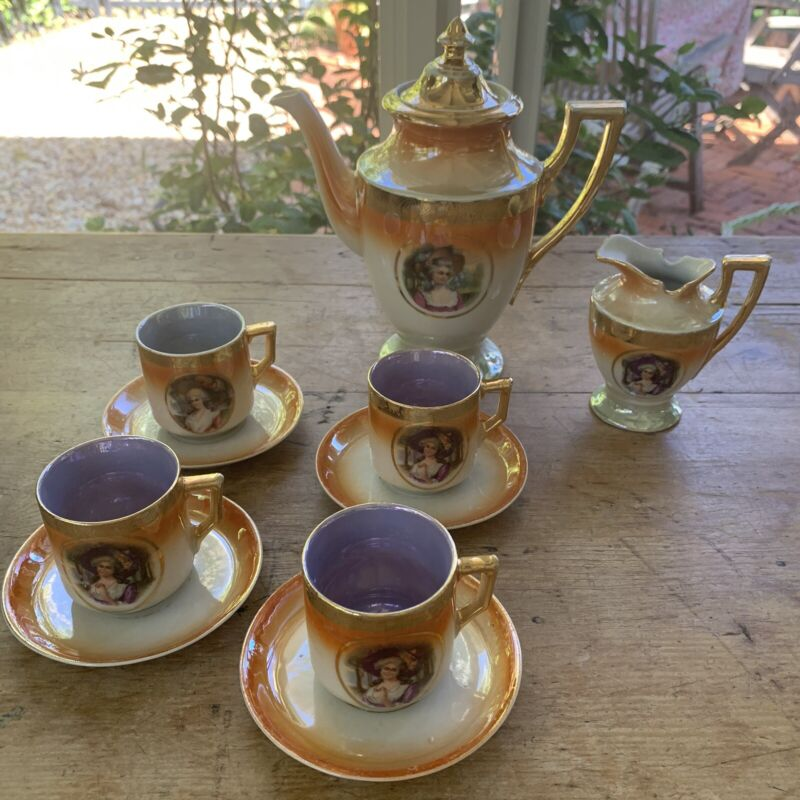 Antique 10pc German Lusterware Orange Gold Tea Set Cups Saucers Teapot Cream