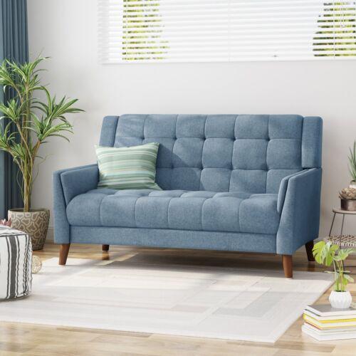 Alisa Mid Century Modern Fabric Loveseat Furniture