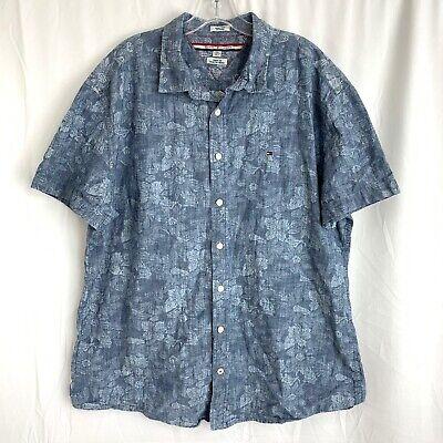 Tommy Hilfiger Shirt XXL Blue Floral Button Up Indigo Yarns Custom Hawaiian Camp Custom Hawaiian Shirt