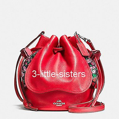 NWT Coach Bright Red Pebbled Leather Petal Drawstring Shoulder Bag Crossbody (Bright Petal)