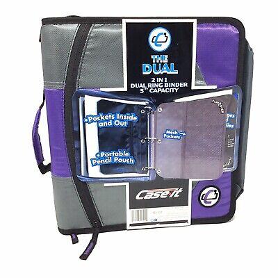 Case It The Dual 2 In1 Dual Ring Binder 3 Capacity 1 12 D Ring Binders Purple
