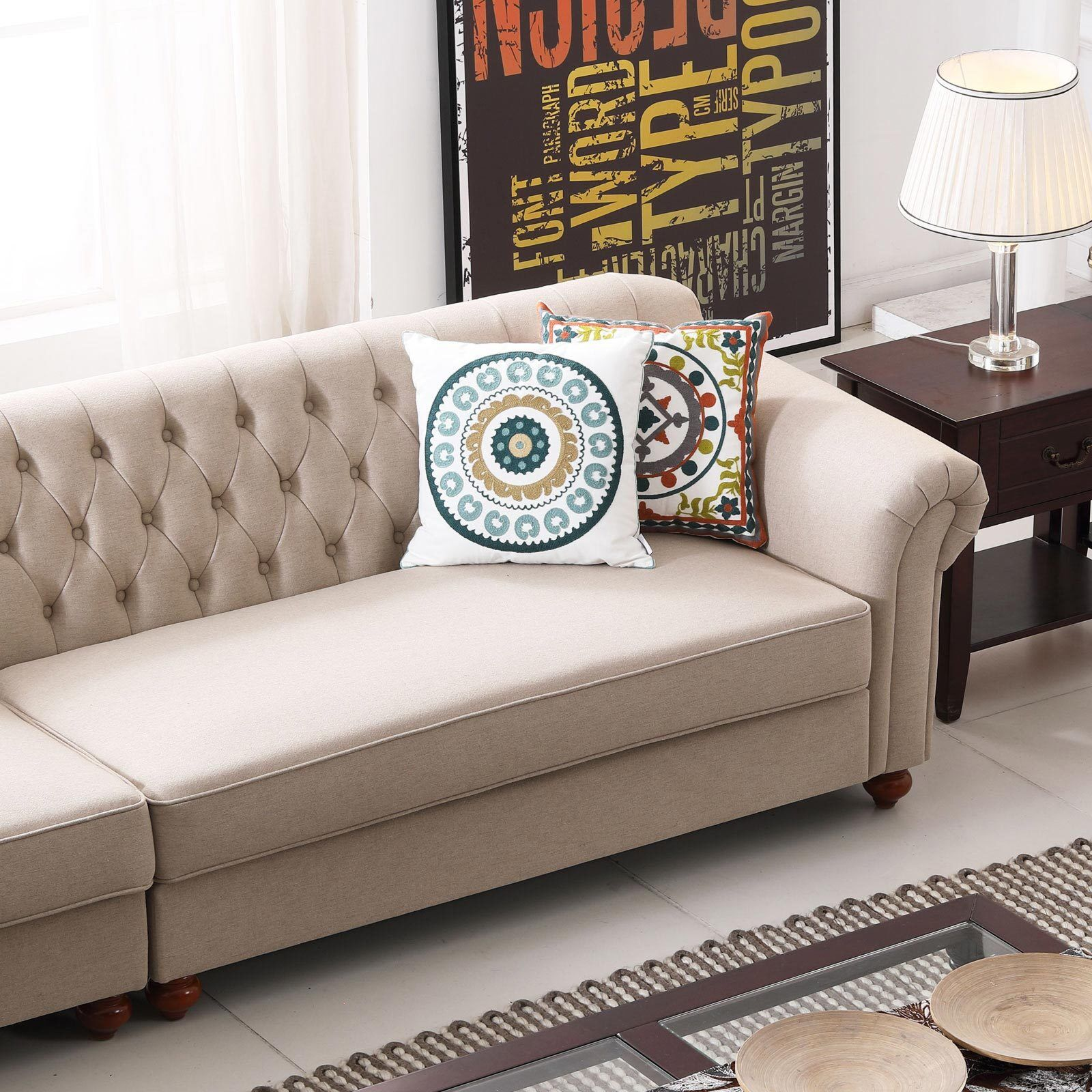 Remsoft 3pcs Left Chaise Lounge Chesterfield Sofa Couch Set- Beige