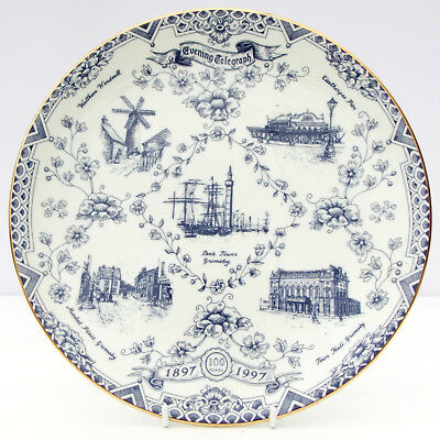 Vintage Grimsby Telegraph Centenary Plate Dock Tower Cleethorpes Pier Blue White