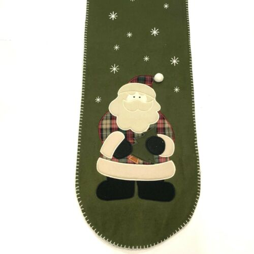 Applique Christmas Table Runner Santa Claus 13x70 Holiday Decor Olive Green