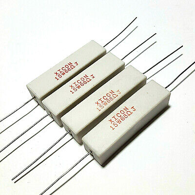 68 Ohm Xicon 15w 5 Wirewound Cement Power Resistor - Usa Seller - 4 Pieces