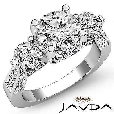 2.7ct Natural Round Diamond Three Stone Engagement Ring GIA F VS1 14k White Gold