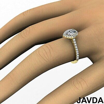 Halo Pear Diamond Engagement French U Pave Set Wedding Ring GIA H Color VVS2 1Ct 11
