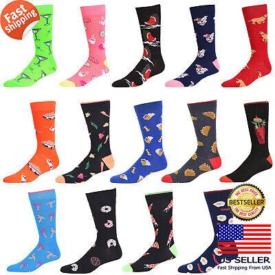Mens Fashion Novelty Retro Funky Funny Food Dog Shark Painting Socks 10-13 2Pair