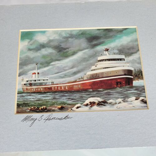 Mary Demroske Signed Watercolor 8x10 Matted Ryerson Cargo Ship Inland Steel