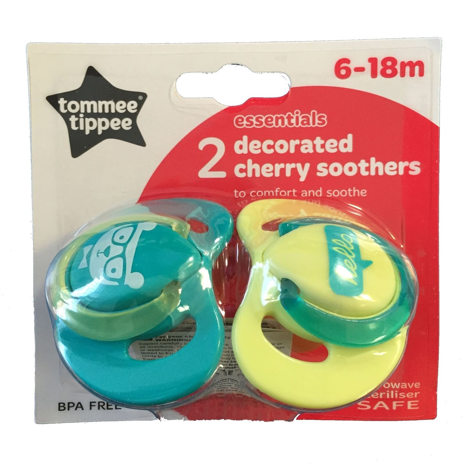 Tommee Tippee Essential Basics Decorated Cherry Soothers 6-18 months 2-pack Assorted Colors
