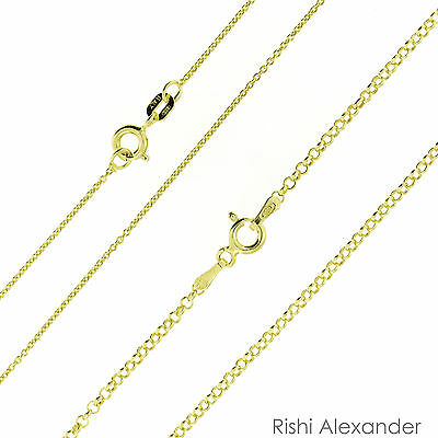 (14k Gold over .925 Sterling Silver Rolo Link Chain Vermeil Stamped 925)