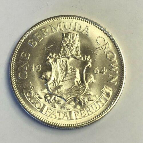 1964 BERMUDA CROWN, QEII, KM#14 Big 36mm .500 Silver Coin, UNC