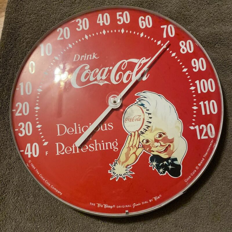 Vintage 1984 Coca-Cola Sprite Boy Indoor/Outdoor Jumbo Dial Tru Temp Thermometer