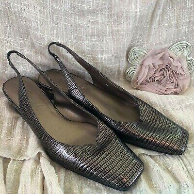 J Renee Womens Slingback Shoes  Size 8M Faux Lizard Print Gold Accents Low Heel J Renee Low Heel Heels