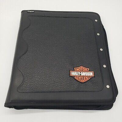 Mead Harley Davidson Motorcycles Black Zippered 3 Ring Binder Portfolio.d23
