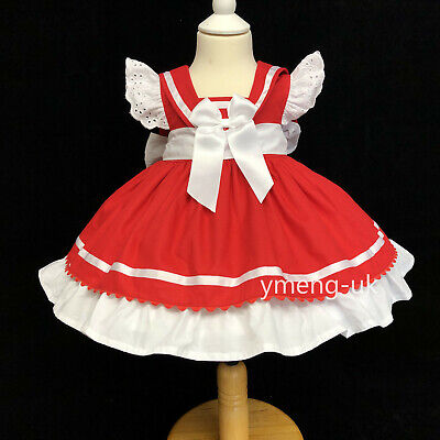 New Beautiful Wee Me Baby Girl Red Spanish Puff Ball Dress with Bows Romany