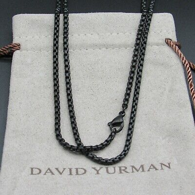 "David Yurman Necklace Box Chain 2.7mm  26""L Stainless Black"