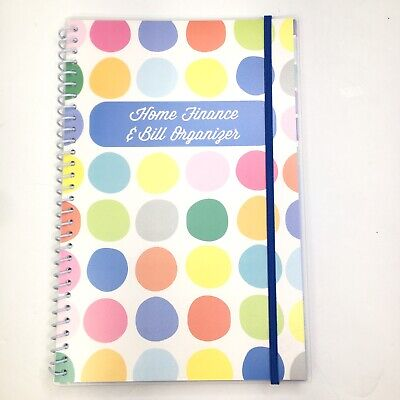 Home Finance Bill Organizer W Pockets Colorful Dots Monthly Budget Planner
