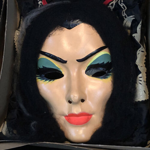 VINTAGE LILY MUNSTER HALLOWEEN COSTUME, MASK, BOX, COMPLETE RARE