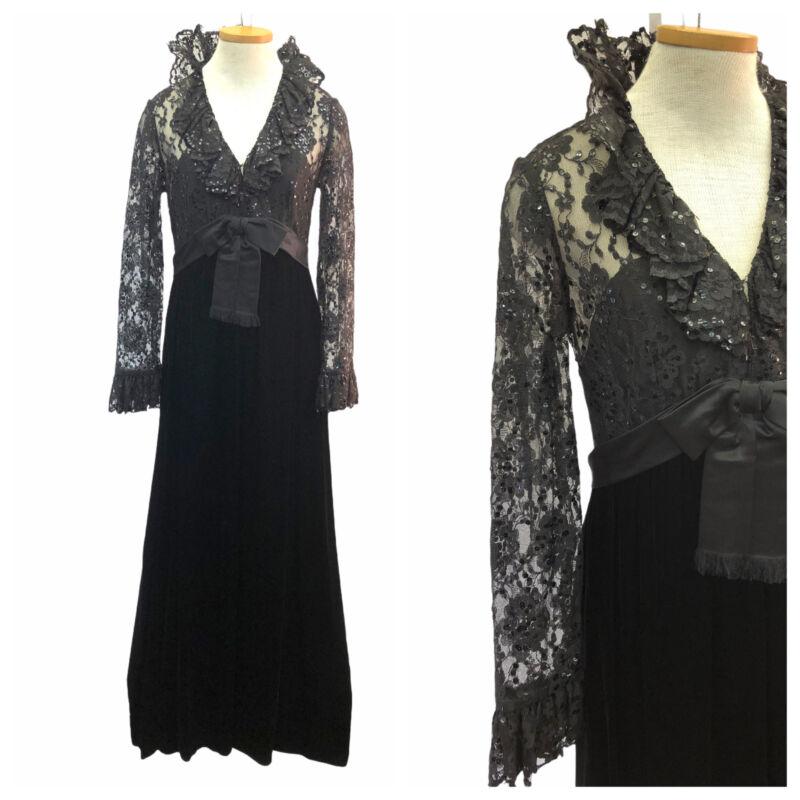 Vintage 70s 80s Victoria Royal LTD Black Velvet Lace Sequin Gown Maxi Dress