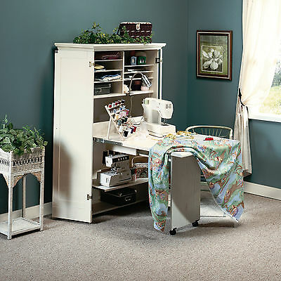 دولاب جديد New Sauder Harbor View Sewing Craft Storage Armoire Antiqued White