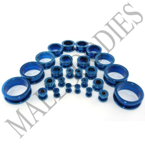 "V013 Screw-on/fit Blue Surgical Steel Flesh Tunnels Ear Plugs 10G~1"" All Gauges"