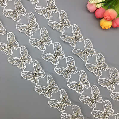 20x Butterfly Lace Trim Fabric Diamond Beaded Embroidered Ribbon Sewing Craft Diamond Trim
