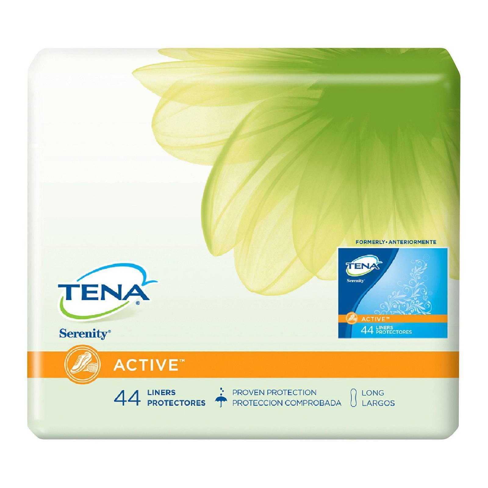 Tena Serenity Active Pantiliners Liners Long 44 Count